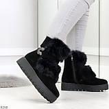 Модельные черные зимние женские ботинки из натуральной замши с опушкой 39-25см, фото 3