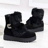 Модельные черные зимние женские ботинки из натуральной замши с опушкой 39-25см, фото 4
