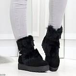 Модельные черные зимние женские ботинки из натуральной замши с опушкой 39-25см, фото 5