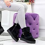 Модельные черные зимние женские ботинки из натуральной замши с опушкой 39-25см, фото 6