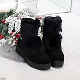 Модельные черные зимние женские ботинки из натуральной замши с опушкой 39-25см, фото 8