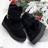 Модельные черные зимние женские ботинки из натуральной замши с опушкой 39-25см, фото 9