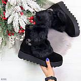Модельные черные зимние женские ботинки из натуральной замши с опушкой 39-25см, фото 10
