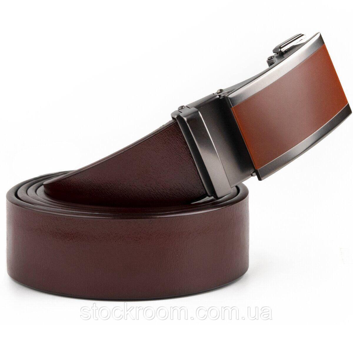 Ремень мужской с коричневой вставкой на пряжке Vintage 20286 Коричневый