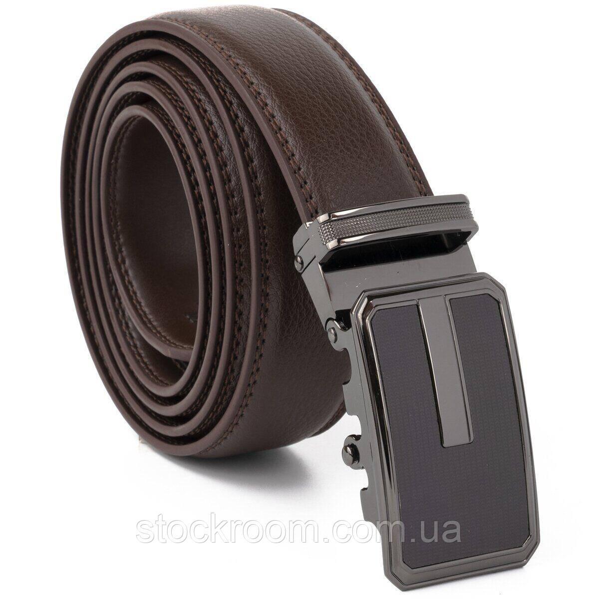 Ремень мужской тонкий c пряжкой автомат и коричневой заливкой Vintage 20308 Коричневый