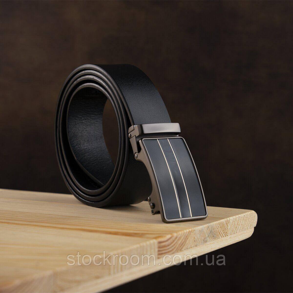 Ремень мужской с полосками на пряжке Vintage 20334 Черный