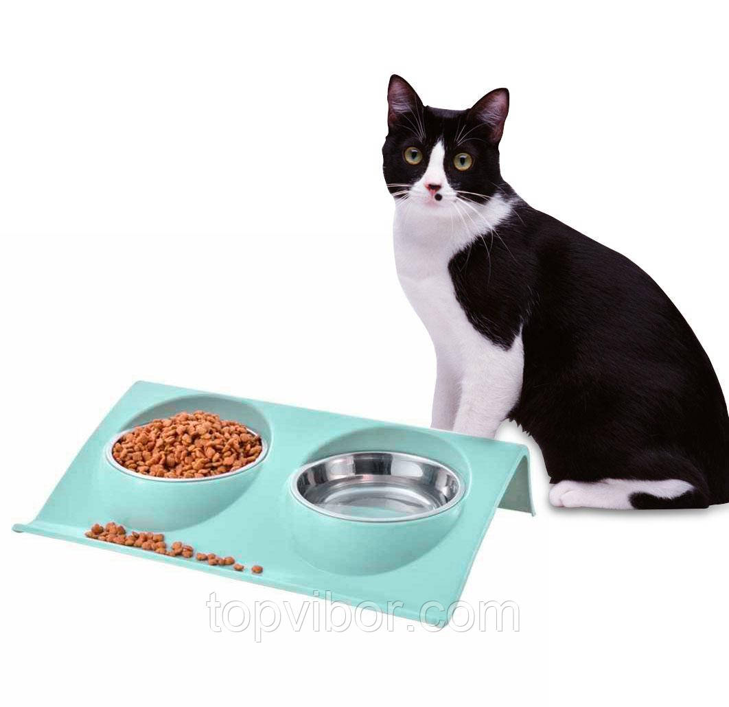 Распродажа! Миска для кошки двойная на подставке, нержавейка + пластик голубая 28х19 см. миски для кота