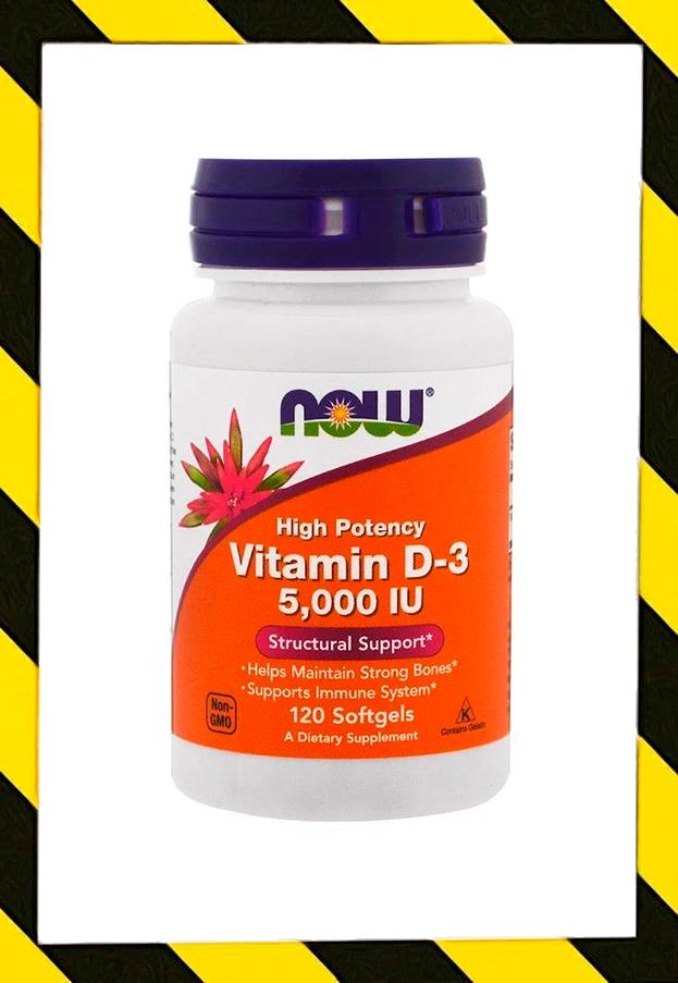 Now Foods, Витамин D3, Витамин Д3 в виде холекальциферола, 5000 МЕ, 120 штук