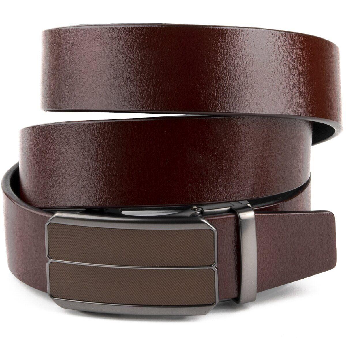 Ремень мужской с коричневой вставкой и затемненным металлом Vintage 20280 Коричневый