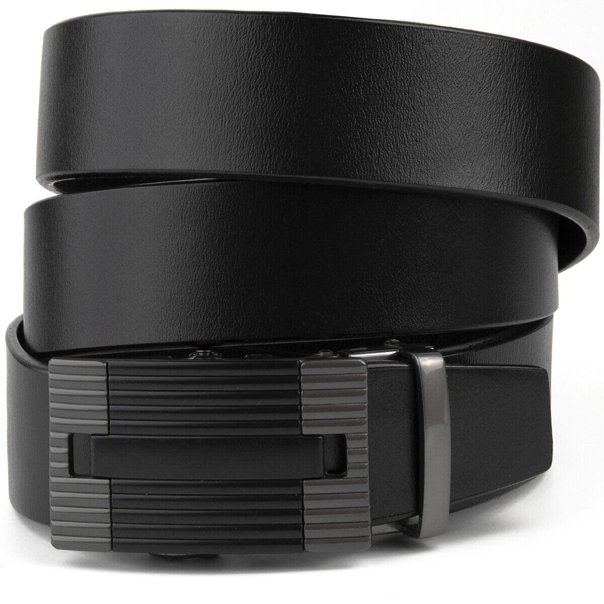 Ремень мужской с линейной пряжкой Vintage 20290 Черный