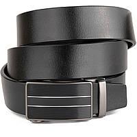 Ремень мужской с полосками на пряжке Vintage 20334 Черный, фото 1
