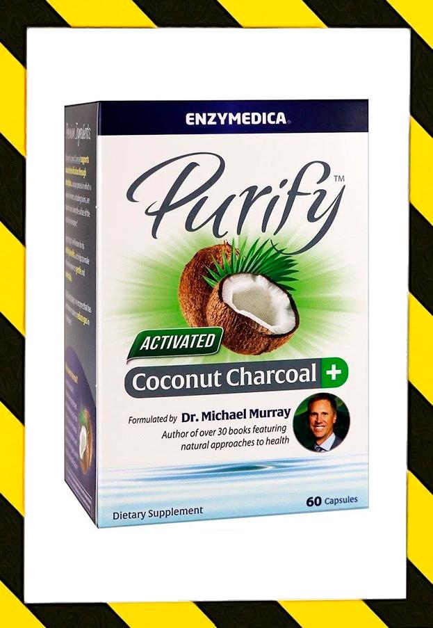 Enzymedica, Очищение, активированный кокосовый уголь + детоксикация организма, 60 капсул