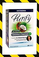 Enzymedica, Очищение, активированный кокосовый уголь + детоксикация организма, 60 капсул, фото 1