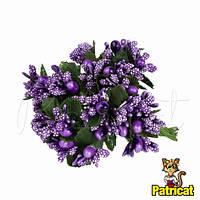 Тычинки Фиолетовые с ягодками и листиками 24 шт/уп на проволоке