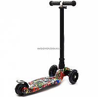 Самокат триколісний Best Scooter різнобарвний пластик, 4 колеса PU, світло d=12см (113-95765), фото 4