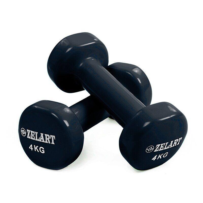 Гантели для фитнеса с виниловым покрытием Zelart Beauty черные (2x4кг) TA-5225-4_black (2шт)