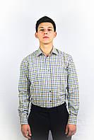 Мужская рубашка в коричнево-серую клетку