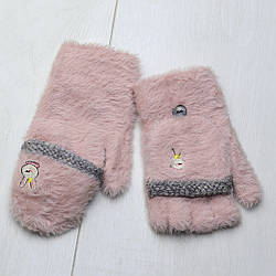 Перчатки-варежки теплые зимние, детские для девочки, одинарные, шерсть, бамбук, вязаные, Зайка, Корона