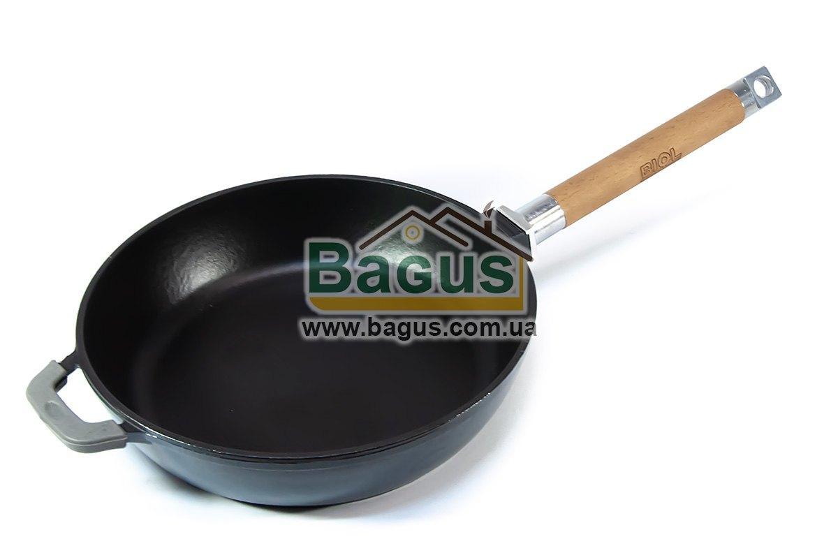 Сковорода эмалированная (сотейник) чугунная глубокая 24х5,5см с деревянной съемной ручкой СЕРАЯ Биол (03245E)