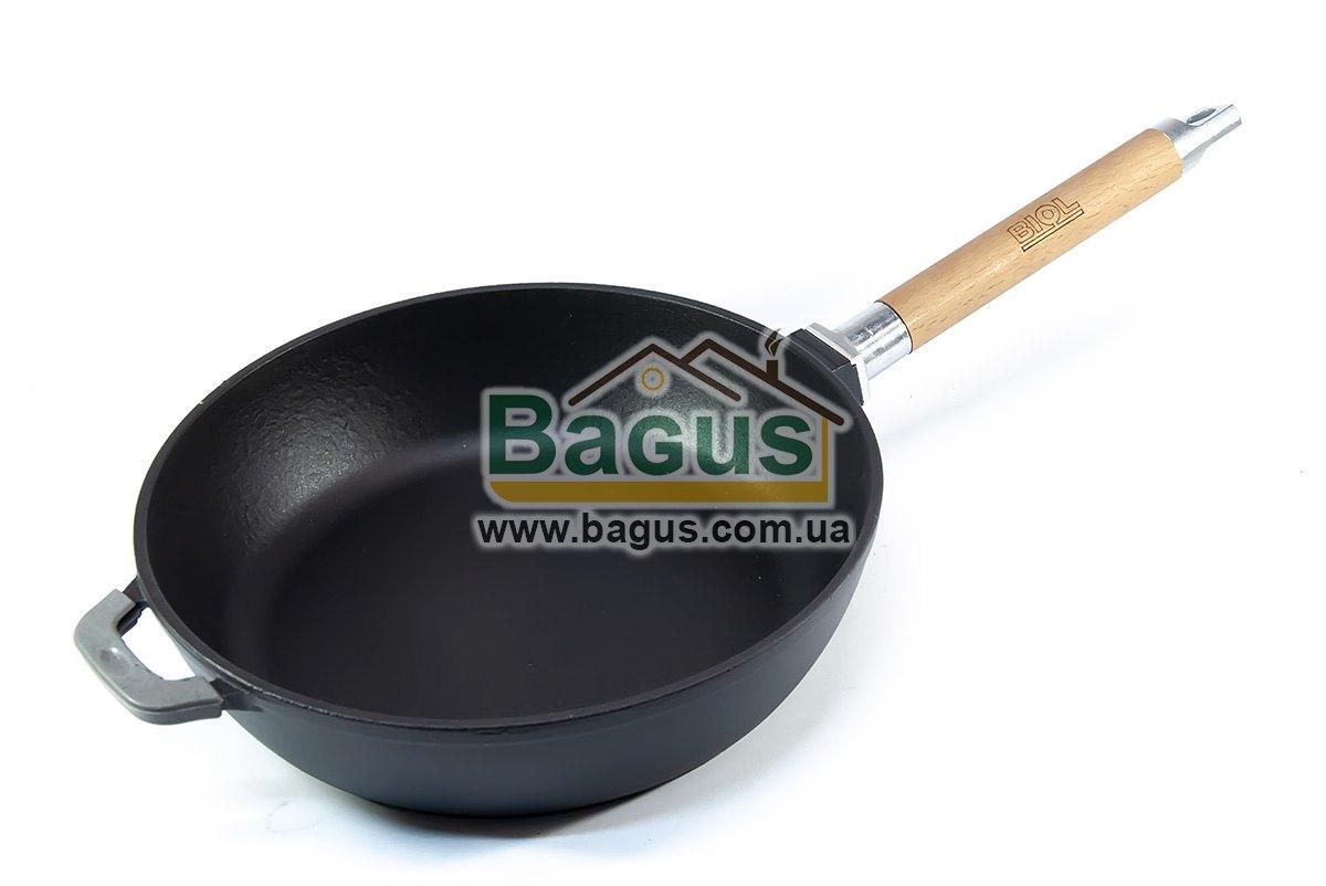 Сковорода эмалированная (сотейник) чугунная глубокая 26х6,5см с деревянной съемной ручкой ЧЕРНАЯ Биол (0326E)