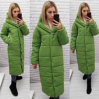Зимняя куртка одеяло цвет фисташка/яблоко М521 матовая, фото 1
