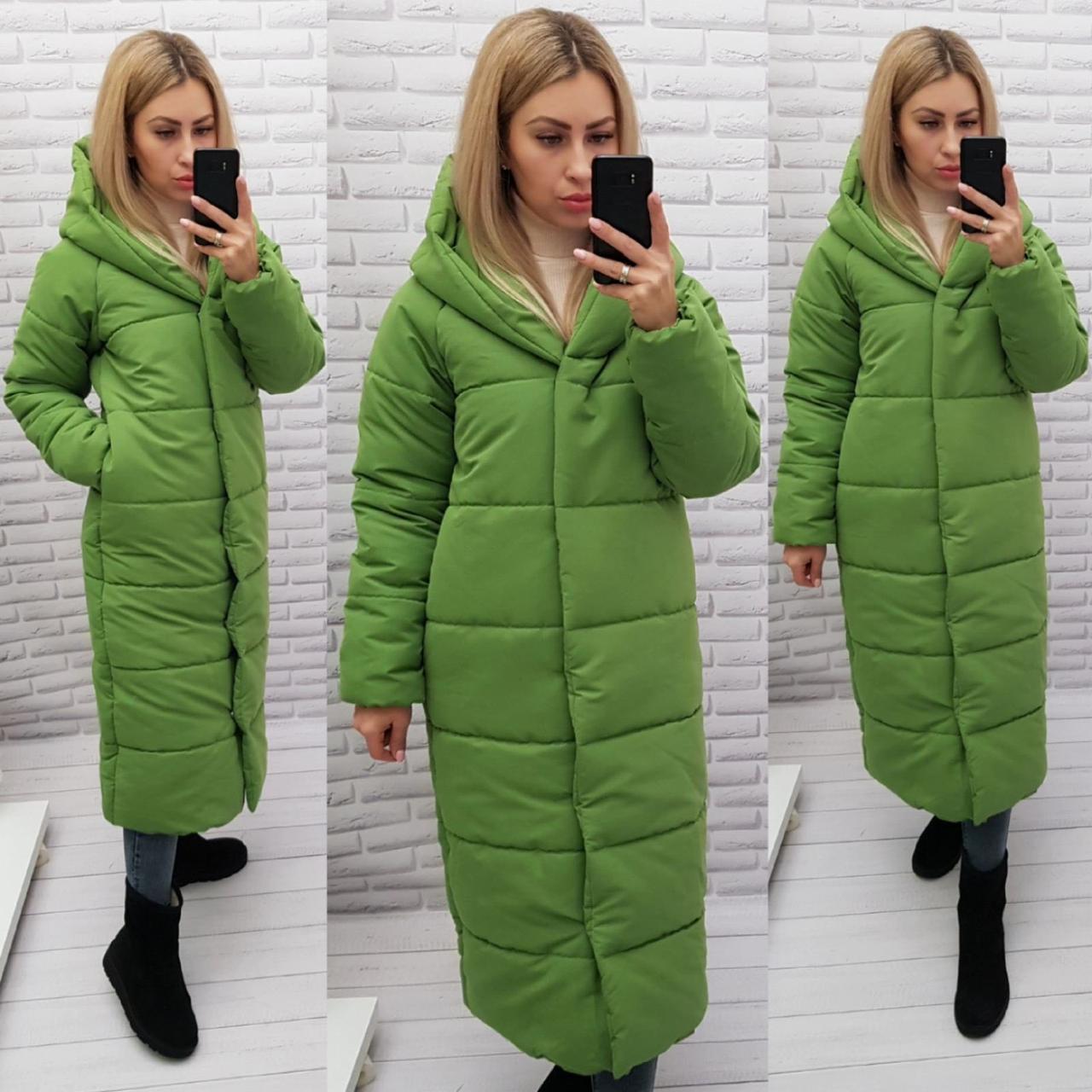 Зимняя куртка одеяло цвет фисташка/яблоко М521 матовая