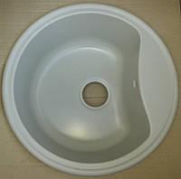 Кухонная круглая мойка из гранита Fancy Marble Texas белая