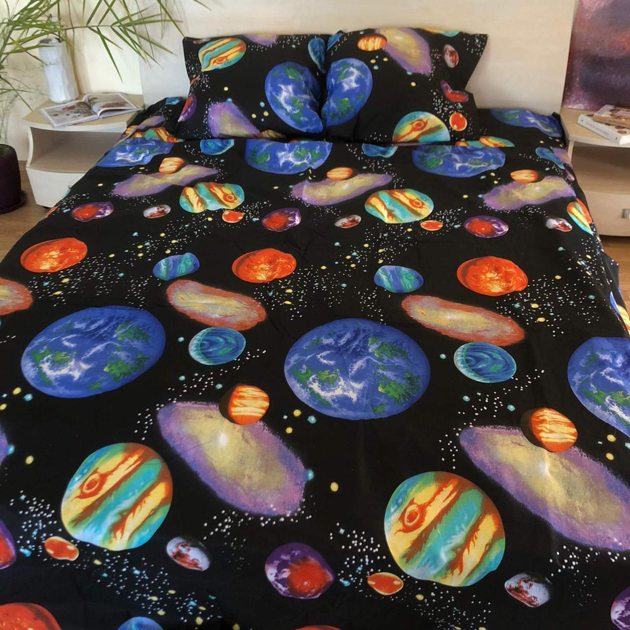 Комплект постельного белья полуторный Бязь GOLD 100% хлопок  Планеты