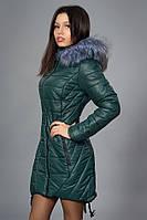 Зимняя женская молодежная куртка. Код К-62-12-16. Цвет темно зеленый.