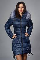 Зимняя женская молодежная куртка. Код К-62-12-17. Цвет темно синий.