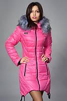Зимняя женская молодежная куртка. Код К-62-12-16. Цвет розовый.