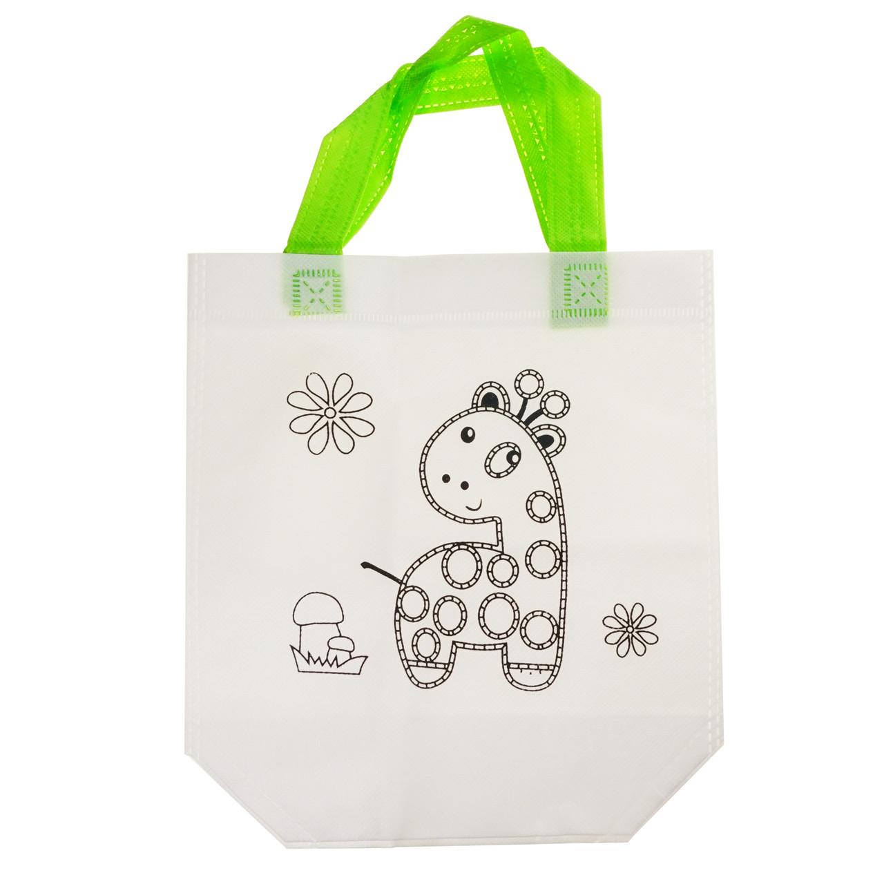 Детская сумка раскраска Жираф - эко сумка набор для раскрашивания с фломастерами