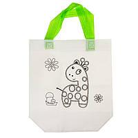 Дитяча сумка розфарбування Жираф - еко сумка набір для розфарбовування з фломастерами, фото 1
