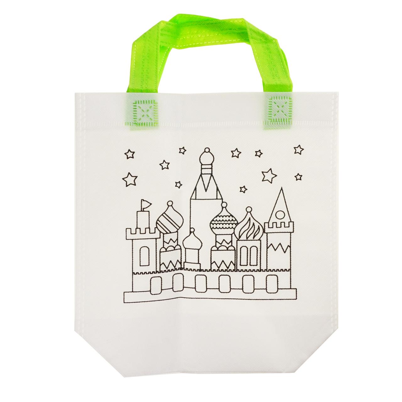 Детская сумка раскраска Замок - эко сумка набор для раскрашивания с фломастерами