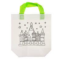 Детская сумка раскраска Замок - эко сумка набор для раскрашивания с фломастерами, фото 1
