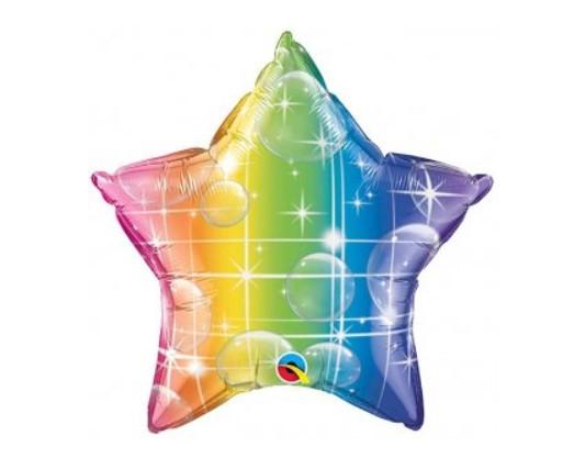 """Q  20""""  Rainbow Star Foil Balloon - Unpkg. Шар воздушный фольгированный Радужная звезда"""