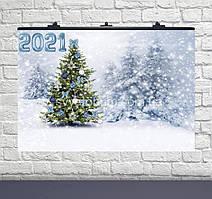 Плакат для праздника 2021 снежный лес