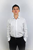 Белая приталенная рубашка 100% хлопка