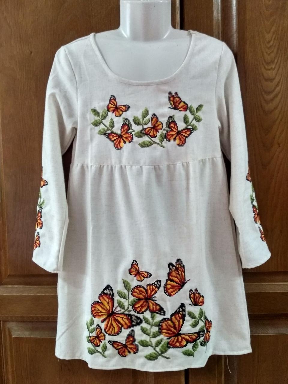 Вишита сукня для дівчинки Метелики лляна тканина зріст 134 см