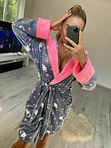 Женский теплый плюшевый домашний халат с котами, фото 3