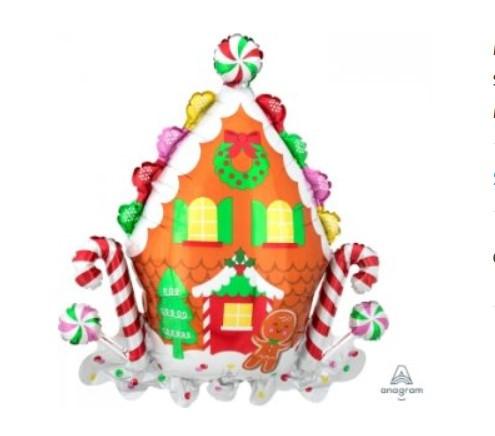 """А 28"""" x 30"""" Gingerbread House SuperShape Foil Balloo. Шар фольгированный фигура Рождественский пряничный домик"""