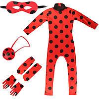 Карнавальный костюм Леди Баг с перчатками для девочки, фото 1