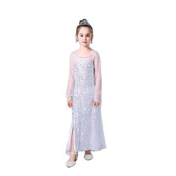 Карнавальное белое платье с пайетками