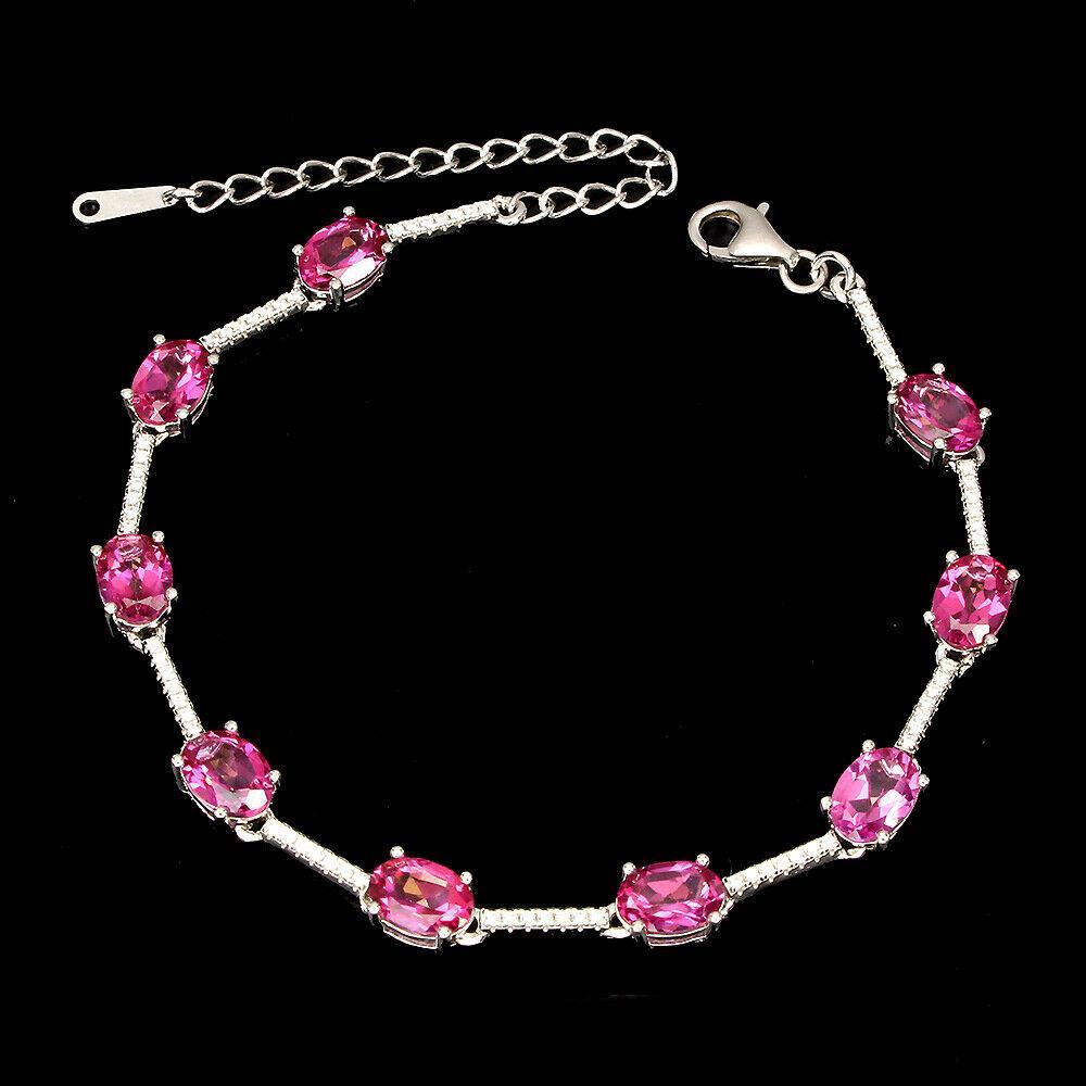 Серебряный браслет с топазом розовым, 266БРТ