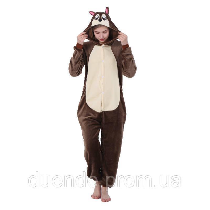 Кигуруми пижама Бурундук, кигуруми Бурундук для взрослых / Kig - 0051