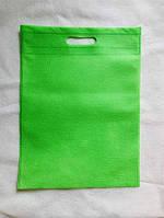 Эко-сумка из спанбонда с прорезными ручками, плоская, 34*46 см, зеленая