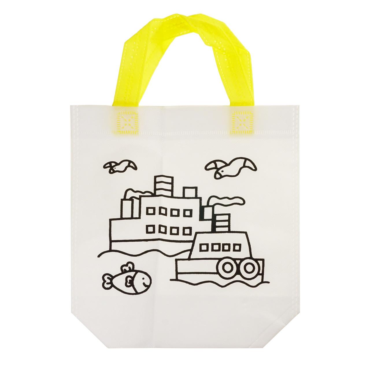 Дитяча сумка розфарбування Кораблик - еко сумка набір для розфарбовування з фломастерами
