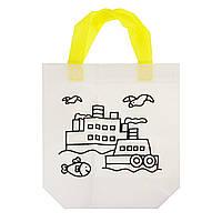 Дитяча сумка розфарбування Кораблик - еко сумка набір для розфарбовування з фломастерами, фото 1