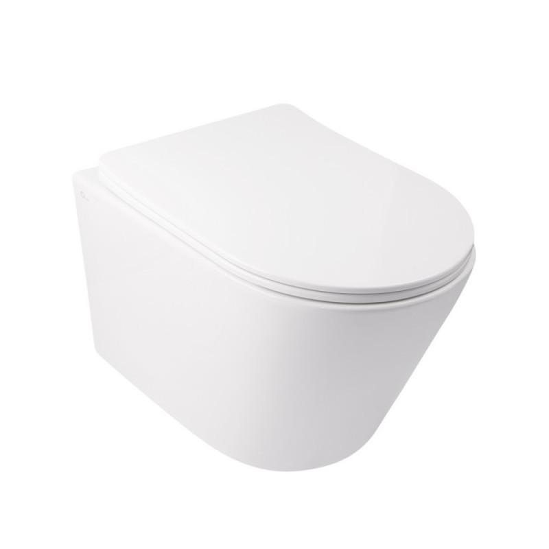 Унитаз подвесной Qtap Swan безободковый с сидением Slim Soft-close QT16335178W
