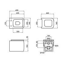 Унитаз подвесной Qtap Sparrow безободковый с сидением Slim Soft-close QT0331148W, фото 2